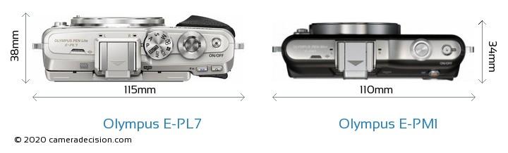 Olympus E-PL7 vs Olympus E-PM1 Camera Size Comparison - Top View