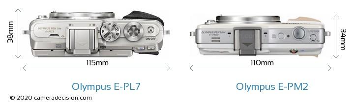 Olympus E-PL7 vs Olympus E-PM2 Camera Size Comparison - Top View