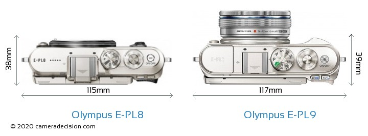 Olympus E-PL8 vs Olympus E-PL9 Camera Size Comparison - Top View