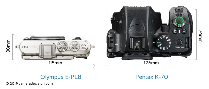 Olympus E-PL8 vs Pentax K-70 Camera Size Comparison - Top View