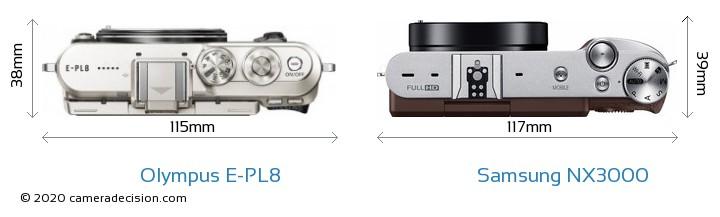 Olympus E-PL8 vs Samsung NX3000 Camera Size Comparison - Top View