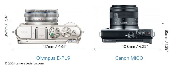 Olympus E-PL9 vs Canon M100 Camera Size Comparison - Top View