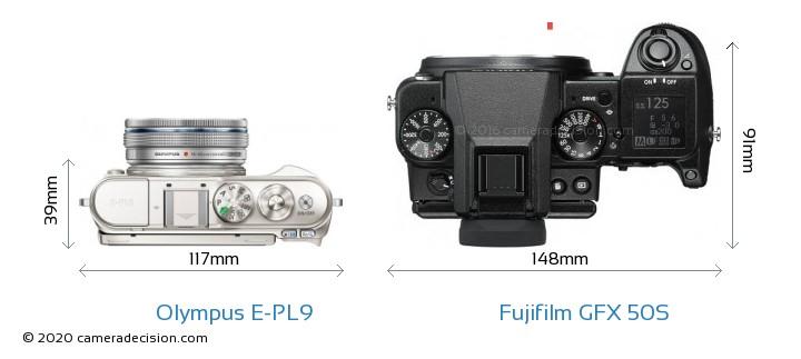 Olympus E-PL9 vs Fujifilm GFX 50S Camera Size Comparison - Top View