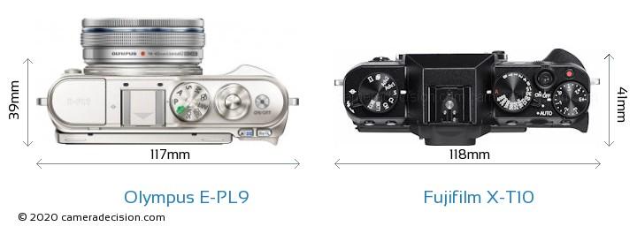 Olympus E-PL9 vs Fujifilm X-T10 Camera Size Comparison - Top View