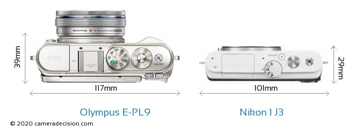 Olympus E-PL9 vs Nikon 1 J3 Camera Size Comparison - Top View