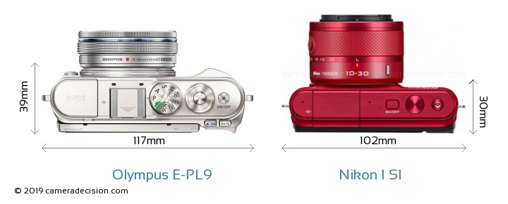 Olympus E-PL9 vs Nikon 1 S1 Camera Size Comparison - Top View