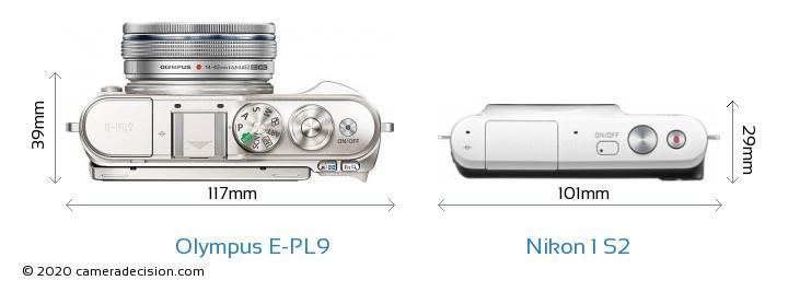 Olympus E-PL9 vs Nikon 1 S2 Camera Size Comparison - Top View