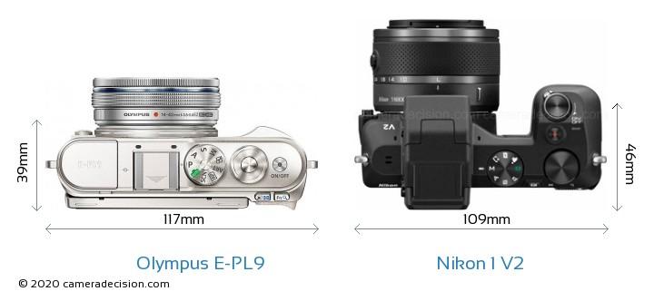 Olympus E-PL9 vs Nikon 1 V2 Camera Size Comparison - Top View