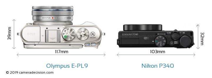 Olympus E-PL9 vs Nikon P340 Camera Size Comparison - Top View