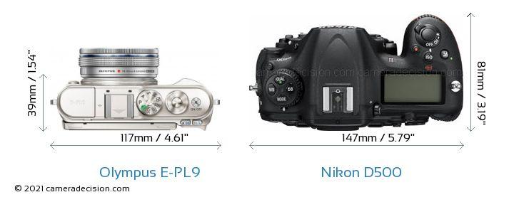 Olympus E-PL9 vs Nikon D500 Camera Size Comparison - Top View
