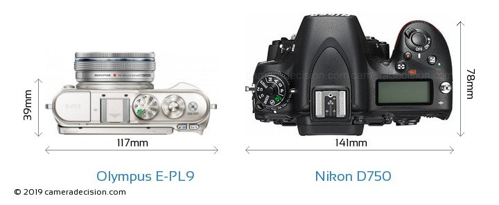 Olympus E-PL9 vs Nikon D750 Camera Size Comparison - Top View