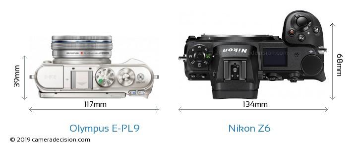 Olympus E-PL9 vs Nikon Z6 Camera Size Comparison - Top View