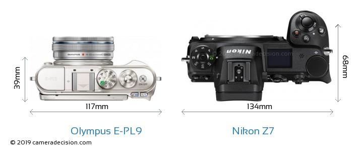 Olympus E-PL9 vs Nikon Z7 Camera Size Comparison - Top View