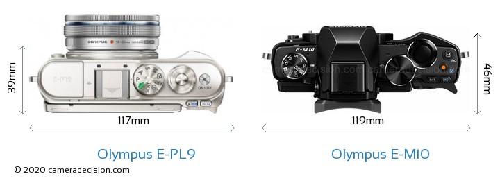 Olympus E-PL9 vs Olympus E-M10 Camera Size Comparison - Top View