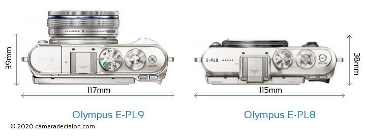 Olympus E-PL9 vs Olympus E-PL8 Camera Size Comparison - Top View