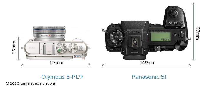 Olympus E-PL9 vs Panasonic S1 Camera Size Comparison - Top View