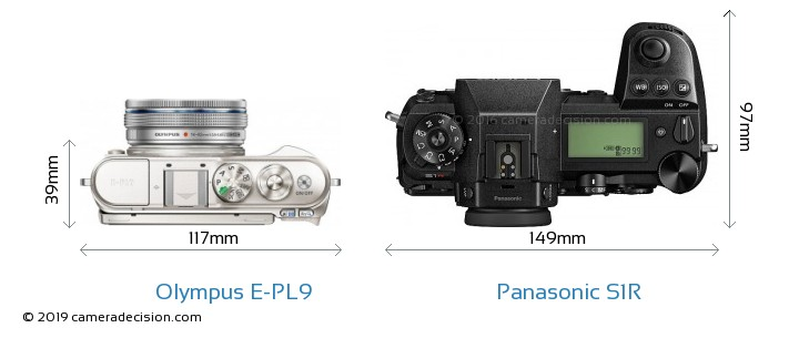 Olympus E-PL9 vs Panasonic S1R Camera Size Comparison - Top View