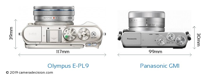 Olympus E-PL9 vs Panasonic GM1 Camera Size Comparison - Top View