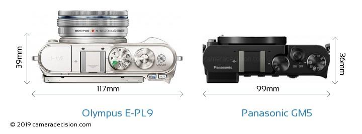 Olympus E-PL9 vs Panasonic GM5 Camera Size Comparison - Top View