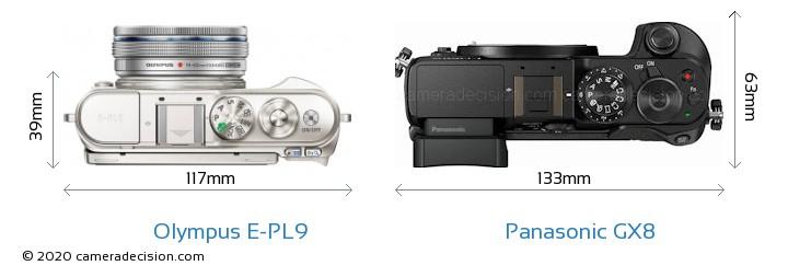 Olympus E-PL9 vs Panasonic GX8 Camera Size Comparison - Top View