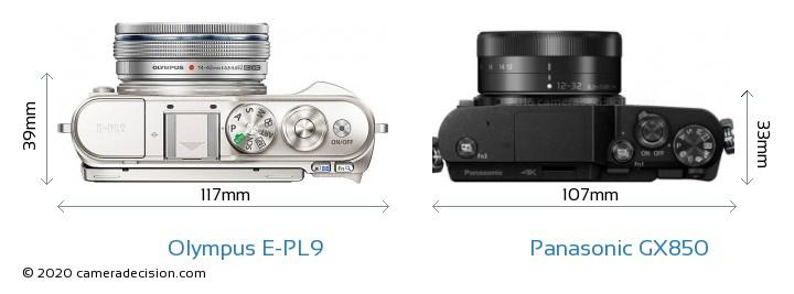 Olympus E-PL9 vs Panasonic GX850 Camera Size Comparison - Top View