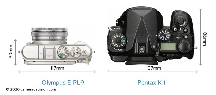 Olympus E-PL9 vs Pentax K-1 Camera Size Comparison - Top View