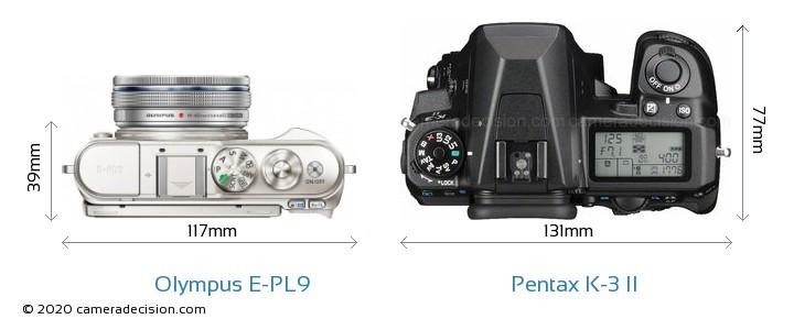 Olympus E-PL9 vs Pentax K-3 II Camera Size Comparison - Top View