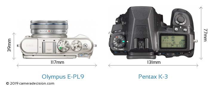 Olympus E-PL9 vs Pentax K-3 Camera Size Comparison - Top View