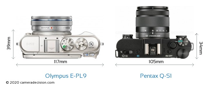 Olympus E-PL9 vs Pentax Q-S1 Camera Size Comparison - Top View