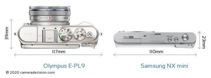 Olympus E-PL9 vs Samsung NX mini Camera Size Comparison - Top View