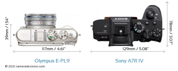 Olympus E-PL9 vs Sony A7R IV Camera Size Comparison - Top View