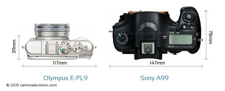 Olympus E-PL9 vs Sony A99 Camera Size Comparison - Top View