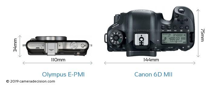 Olympus E-PM1 vs Canon 6D MII Camera Size Comparison - Top View