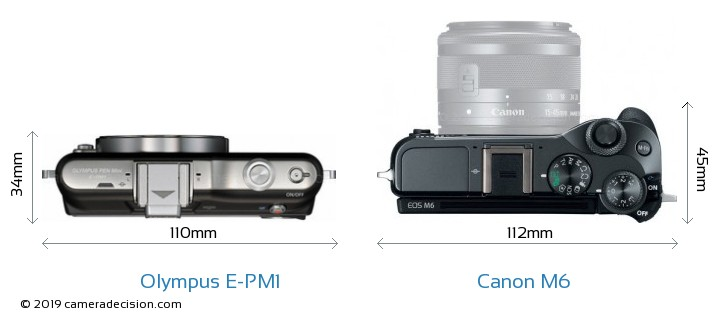 Olympus E-PM1 vs Canon M6 Camera Size Comparison - Top View