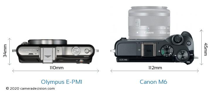 Olympus E-PM1 vs Canon M6 Camera Size Comparison - Top View