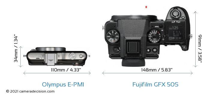Olympus E-PM1 vs Fujifilm GFX 50S Camera Size Comparison - Top View