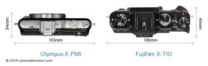 Olympus E-PM1 vs Fujifilm X-T10 Camera Size Comparison - Top View