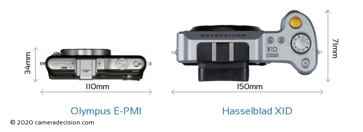 Olympus E-PM1 vs Hasselblad X1D Camera Size Comparison - Top View