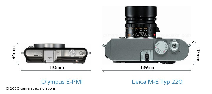 Olympus E-PM1 vs Leica M-E Typ 220 Camera Size Comparison - Top View