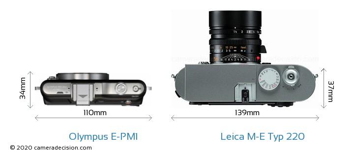 Olympus E-PM1 vs Leica M-E Typ 220 Camera Size Comparison - Top View