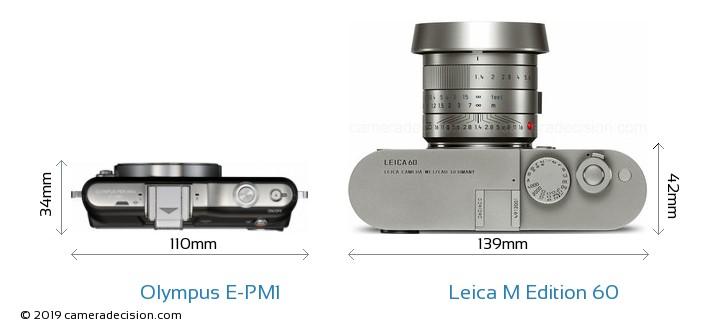 Olympus E-PM1 vs Leica M Edition 60 Camera Size Comparison - Top View