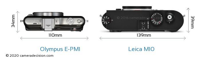 Olympus E-PM1 vs Leica M10 Camera Size Comparison - Top View