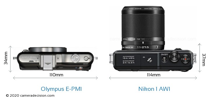 Olympus E-PM1 vs Nikon 1 AW1 Camera Size Comparison - Top View