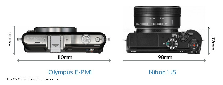 Olympus E-PM1 vs Nikon 1 J5 Camera Size Comparison - Top View