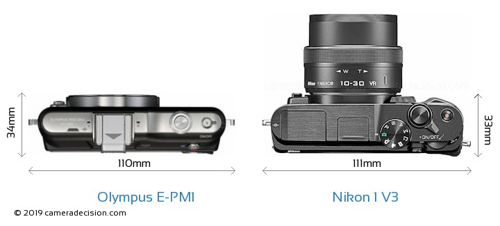 Olympus E-PM1 vs Nikon 1 V3 Camera Size Comparison - Top View