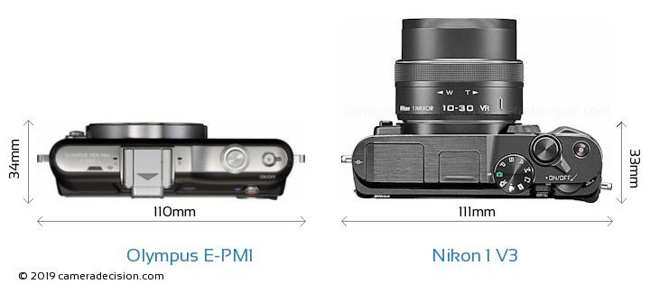 Olympus E-PM1 vs Nikon 1 V3 Camera Size Comparison - Top View
