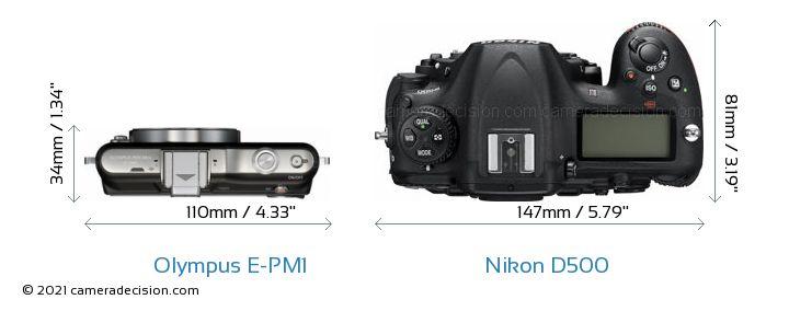 Olympus E-PM1 vs Nikon D500 Camera Size Comparison - Top View