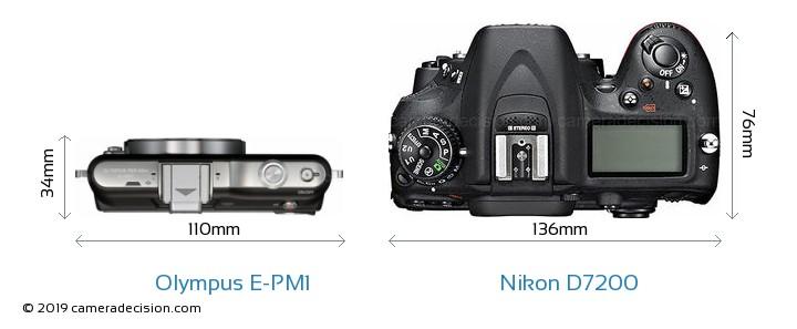Olympus E-PM1 vs Nikon D7200 Camera Size Comparison - Top View