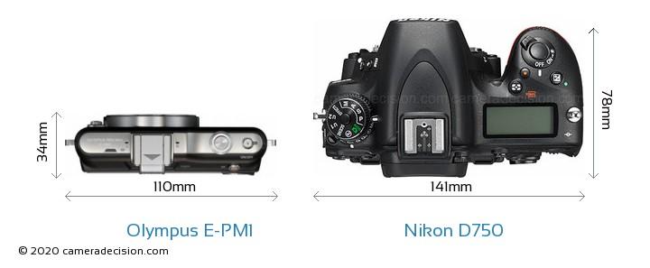 Olympus E-PM1 vs Nikon D750 Camera Size Comparison - Top View
