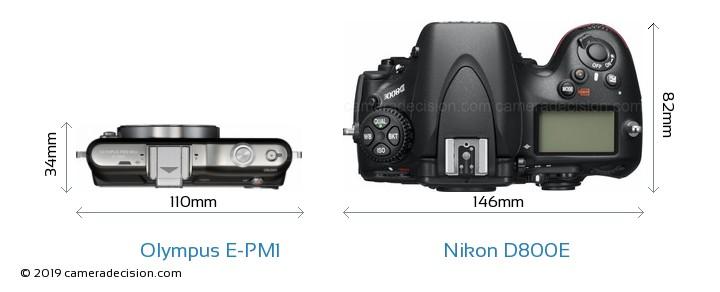Olympus E-PM1 vs Nikon D800E Camera Size Comparison - Top View